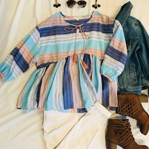 Tops - NWOT- Striped Boho Top- Size Small